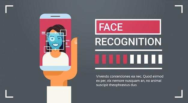 Mão, segurar, esperto, telefone, digitalizando, íris feminina, rosto, reconhecimento, tecnologia, bandeira, biometric, identificação