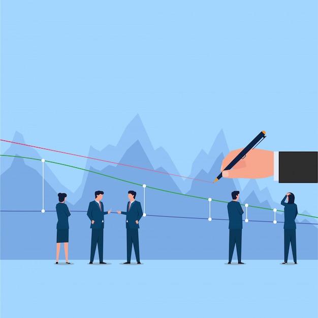 Mão segure a caneta desenhar uma linha no gráfico de negociação de ações e as pessoas falam sobre isso.