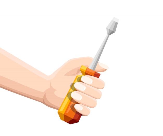 Mão segure a chave de fenda laranja. chaves de fenda com acessórios planos. ilustração plana isolada no fundo branco. ícone colorido.