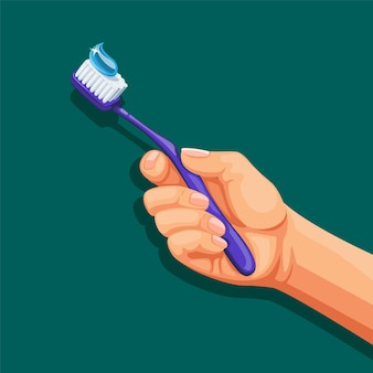 Mão segure a escova de dentes. cuidado dental