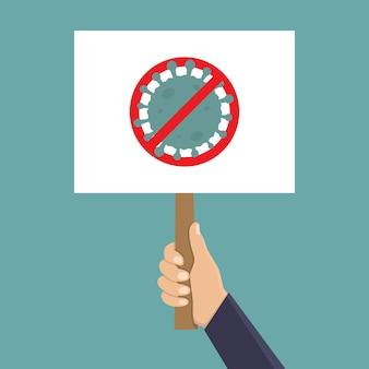Mão segure a placa do sinal para a ilustração do design plano do corona vírus