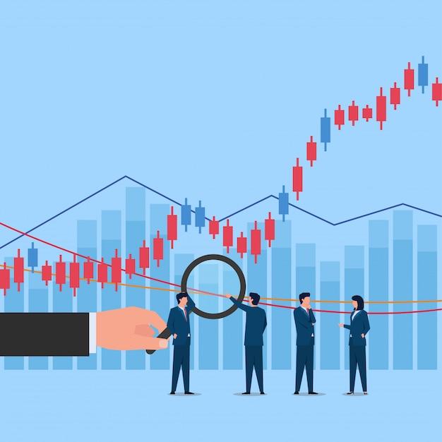 Mão segure ampliar no gráfico de negociação de ações e as pessoas discutem sobre isso.