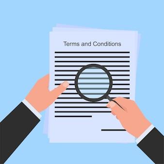 Mão segure amplie analise papel de termos e condições metáfora de acordo. ilustração de conceito de vetor plana de negócios.