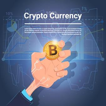 Mão segure bitcoin dourado moeda digital diagramas crypto moeda e gráficos fundo