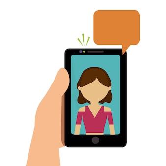 Mão segure celular menina falando chat