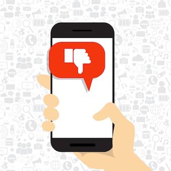 Mão segure celular telefone inteligente com o polegar para baixo ícone mídia social disique símbolo rede