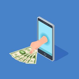 Mão segure dinheiro de um smartphone