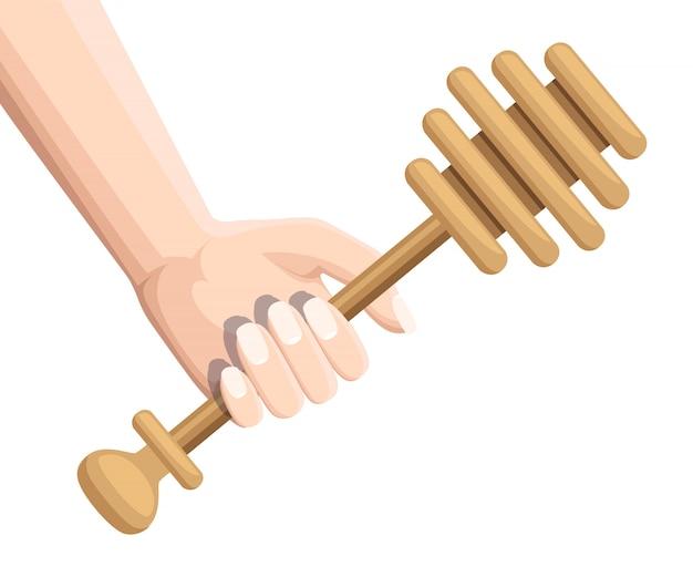Mão segure dipper mel de madeira. honey stick, utensílio de cozinha usado para coletar mel. ilustração em fundo branco