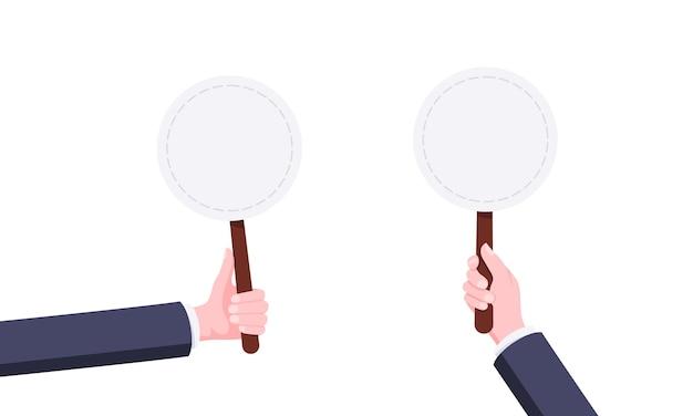 Mão segure em branco redondo lance de leilão banner placa sinal conceito de negócios estilo plano design