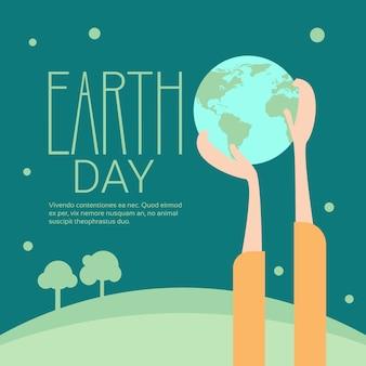 Mão segure globe earth dia global ecological world protection holiday concept