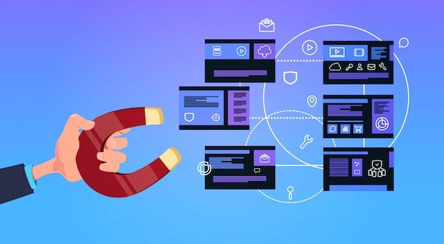 Mão segure ímã centro de computação de privacidade de dados com servidores de hospedagem rede e banco de dados
