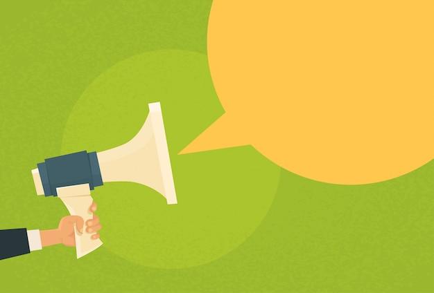 Mão segure megafone chat bolha cópia espaço alto-falante