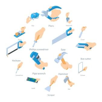 Mão segure o conjunto de ícones de ferramenta, estilo isométrico