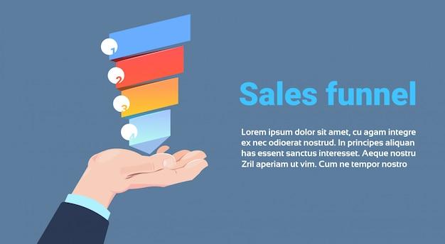 Mão segure o funil de vendas com etapas etapas infográfico de negócios. conceito de diagrama de compra