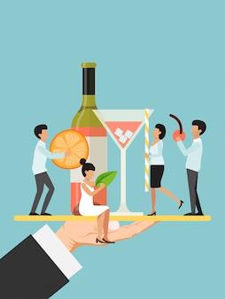 Mão segure o prato com pequeno personagem masculino, ilustração plana de garçom feminino. o garçom do restaurante decora o vinho da garrafa e a cereja alaranjada da fatia dos vidros.