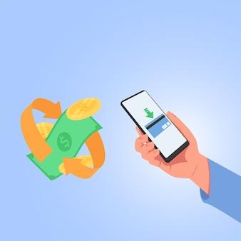 Mão segure o telefone, transfira dinheiro com cartão de crédito em pagamento digital.