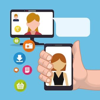 Mão segure smartphone mulher enviando e-mail mídia social