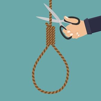 Mão segure uma tesoura e corte a corda ilustração plana de suicídio