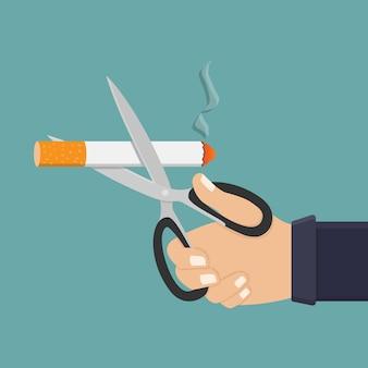 Mão segure uma tesoura e corte cigarro illustrartion plana