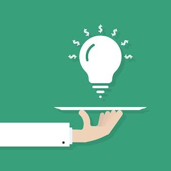 Mão servindo lâmpada de ideia. conceito de moeda do dólar, inventar projeto, metáfora do conhecimento, empreendedorismo, executar negócios. ilustração em vetor design de logotipo moderno tendência estilo plano sobre fundo verde