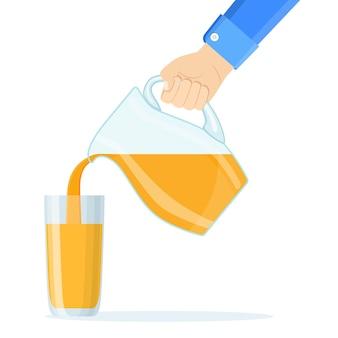 Mão servindo suco de laranja