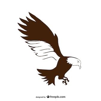 Mão simples desenhado águia vector