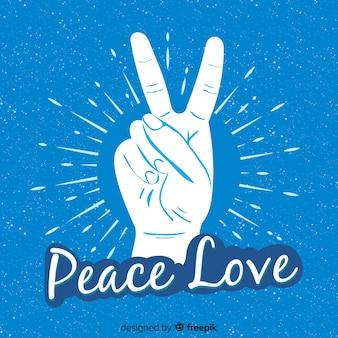 Mão, sinal paz, com, palavras, fundo