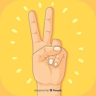 Mão, sinal paz, fundo