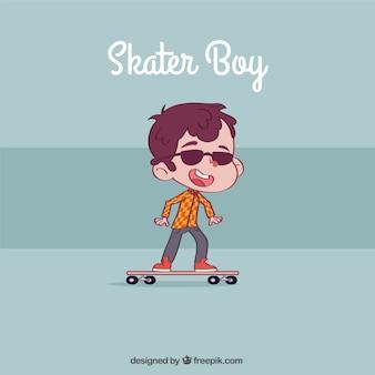 Mão skater fundo desenhado menino