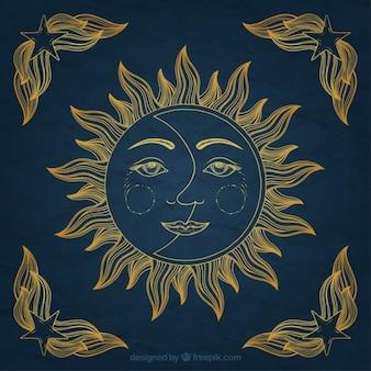 Mão sol desenhado e ornamento da lua