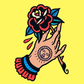 Mão tatuada com rose old school tattoo vector