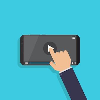 Mão, tela tocante, ligado, smartphone