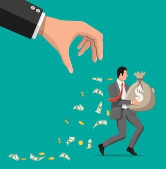 Mão tenta agarrar o saco de dinheiro correndo empresário. roubo de dinheiro, impostos, dívidas, taxas, crises e falências. proteção, banco, propriedade. ilustração vetorial em estilo simples