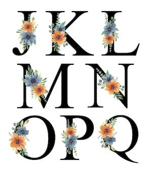Mão tinta aquarela azul laranja florais alfabeto design editável premium vector