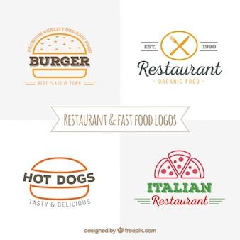 Mão tirada e logos restaurante de fast food