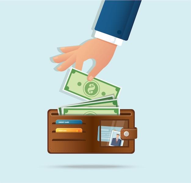 Mão tirando dinheiro da carteira
