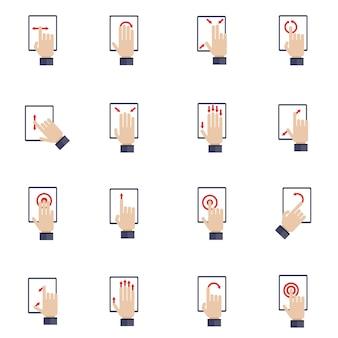 Mão tocando a tela do conjunto de ícones plana de tablet de dispositivo móvel