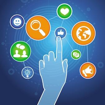 Mão tocando sinal de internet com ícones de mídias sociais