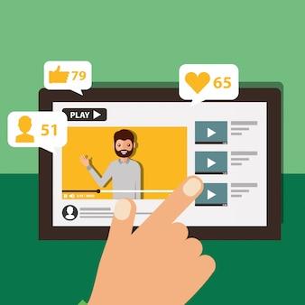 Mão tocando tela móvel blogger homem vídeo conteúdo viral