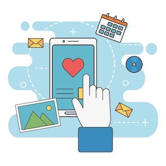 Mão toque smartphone amor mensagem rede mídias sociais