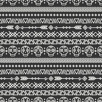 Mão tribal desenhada linha mexicano étnica sem costura padrão.