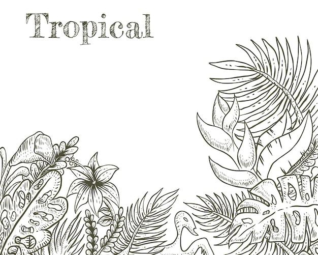 Mão tropical desenhada ilustração vetorial