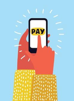 Mão usando cartão de crédito do telefone celular, conceito de compras online branco