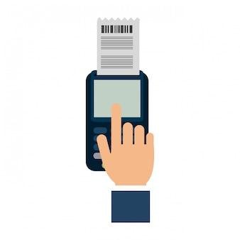 Mão, usando, crédito, leitor cartão
