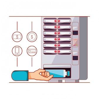 Mão usando dispensador de máquina de bebidas eletrônica