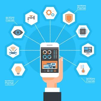 Mão usando o sistema de controle home esperto no conceito da automatização da monitoração da casa de smartphone