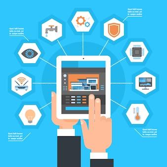 Mão usando o sistema de controlo home esperto no conceito da automatização da monitoração da casa do tablet pc