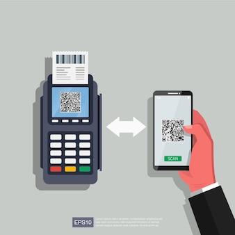 Mão usando smartphone e dataphone com ilustração de qr de código de digitalização. tecnologia para negócios.