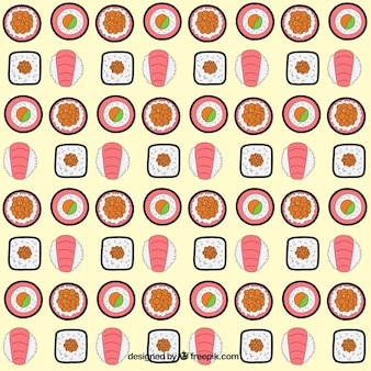 Mão variedade desenhada de padrão de sushi