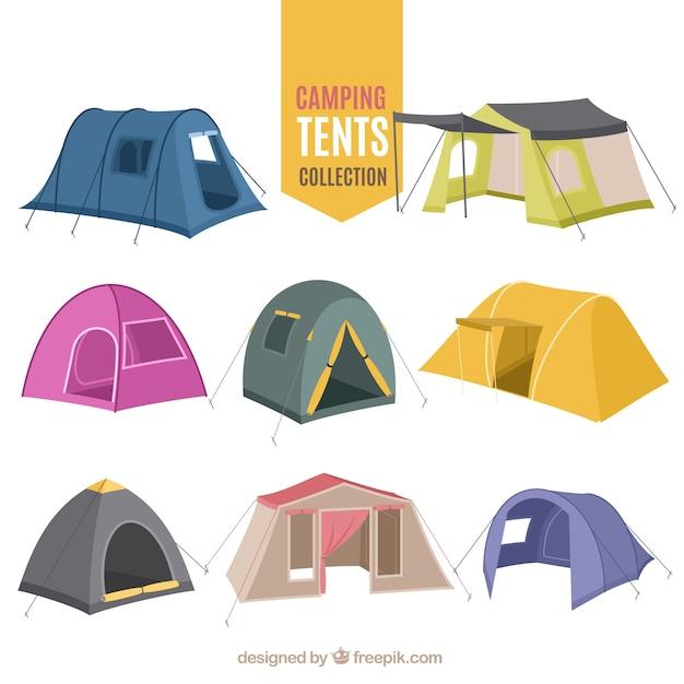 Mão variedade desenhada de recolha barraca de acampamento